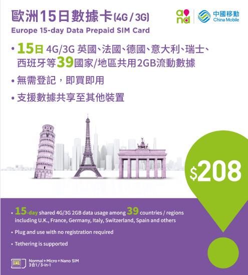 4G/3G Europe 15-day Data Prepaid SIM Card